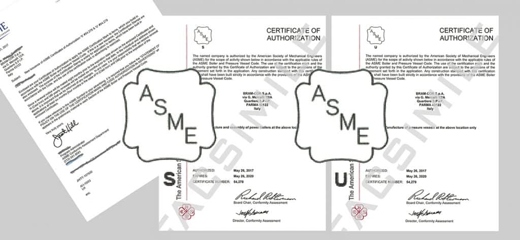 BRAM-COR ASME S U stamp - Certificates